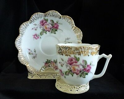 Large Vintage Victorian PINK ROSES Scalloped Gold Rim Mustache Cup and Saucer