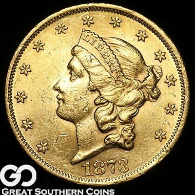 1873 Double Eagle, $20 Gold Liberty, Nice Luster ** Free Shipping!