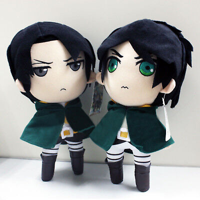 2PCS Attack On Titan Eren Jaeger and Levi Rivaille 12 inches Soft Plush Doll Toy