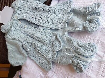 Hand Knitted 4-Pce Set (Pale Blue)