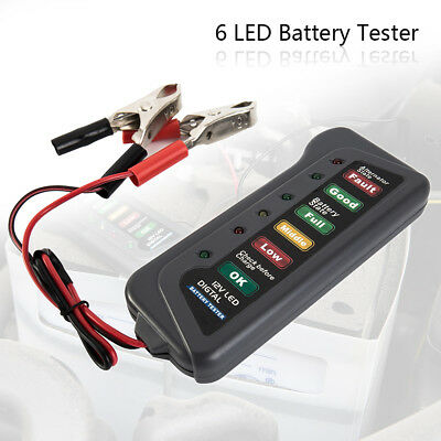 12V Volt Auto Car Battery Alternator Load 6 LED Light Battery Tester Digital NEW