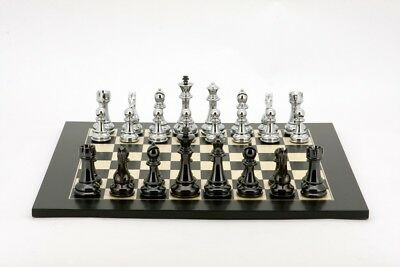 Dal Rossi Italy Chess Set,50cm Board - Silver & Titanium Black Weighted Chess Ps