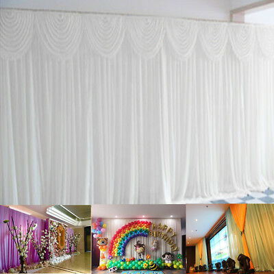 6x3M White Stage Wedding Party Backdrop Photography Background Drape Curtains ❤️
