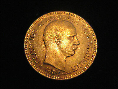 "Mds Griechenland 20  Δραχμαι Drachmen 1884 A ""georg I."", Gold"