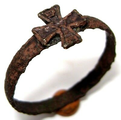 Ancient  bronze Ring with CROSS on BEZEL