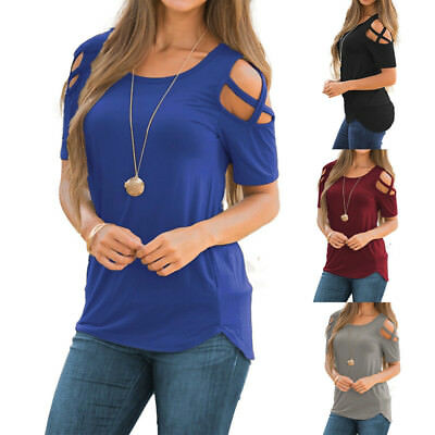 Women's Ladies Cold Shoulder Shirts Summer Blouse Tee T-shirt Tops UK Size 6-16