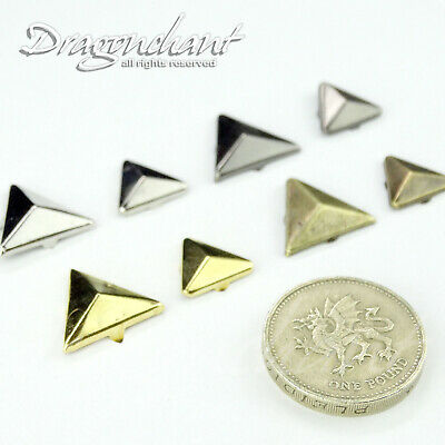 CLEARANCE SALE! METAL PYRAMID Triangle STUDS 12 16 mm SPIKE LEATHER CRAFT Punk