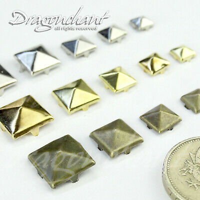 METAL PYRAMID SQUARE STUDS 6 7 8 10 12 mm SPIKE LEATHER CRAFT Rock Punk Goth