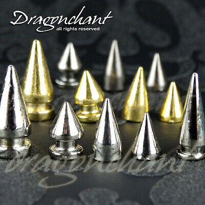 100pcs SOLID METAL SCREW FIX SPIKE STUD BULLET CONE Leather Craft Rivet