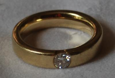 Band Solitär Spann Ring Brillant 0.35 Carat bombiert 585 Gold 9 Gramm
