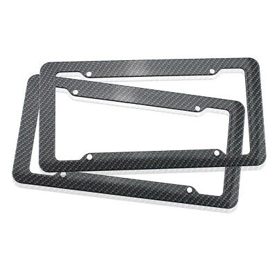 2pcs Plastic Carbon Fiber Style License Plate Frames Fit Frame for Car Truck