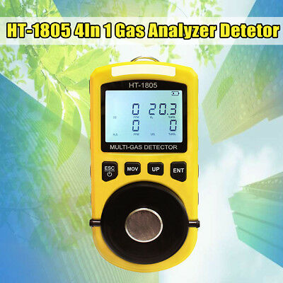 4 in 1 Portable Gas Tester Detector Poisonous H2S O2 CO  LEL Gas Density Monitor