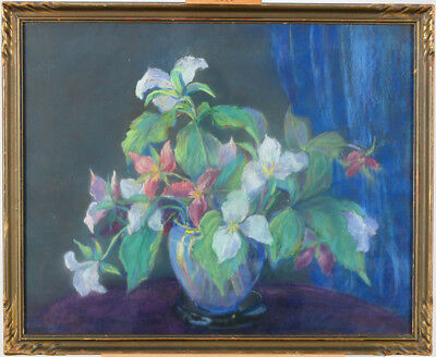 Lily Osman Adams (1865–1945)RCA Canadian Listed Vintage Pastel Still Life Floral