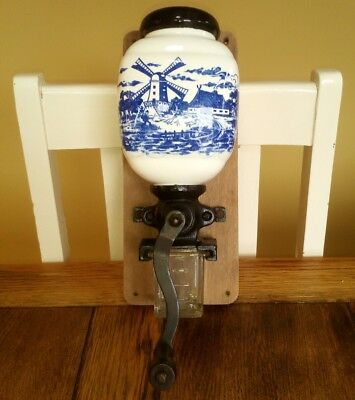 vintage wall mounted coffee cast iron grinder ceramic delft glass pot blue white