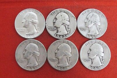 1943 1943D 1948 1953D 1959D 1964D  Washington Quarter Silver Coin LOT OF 6