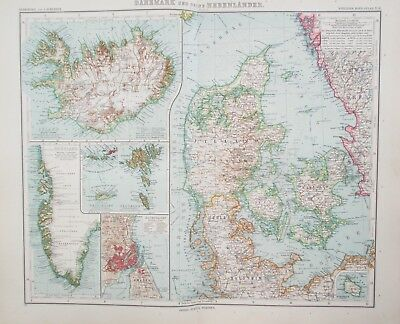Map of Denmark & Iceland.1909. Original GREENLAND. Stieler. Perthes.   Antique