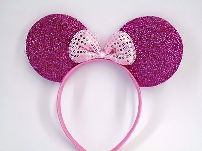 MINNIE MOUSE EARS Headband Hot Pink Sparkle Shimmer -- Pink Sequin Bow Mickey