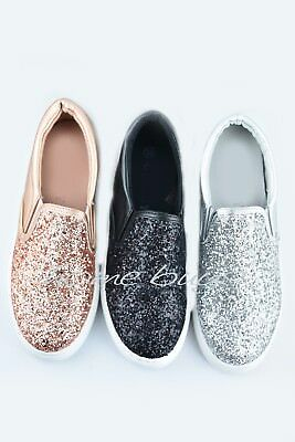 88c4238fe383 Ladies Womens Flat Slip On Glitter Sparkly Plimsoll Pumps Skater Trainers  Shoes