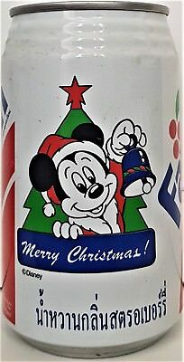 CC CANS Thailand FANTA RED CAN DISNEY CAN MICKEY HOLDING A BELL CHRISTMAS TREE