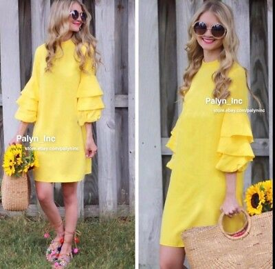 NWT ZARA 2017 JOIN LIFE YELLOW FRILLED SLEEVED DRESS 100% lyocell Size XS S  M L - EUR 30 1bab5a8fd