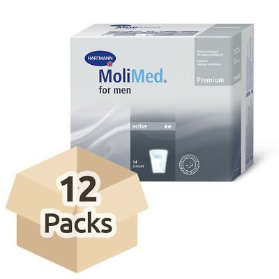 12x MoliMed For Men Active - Pack of 14 - Mens Incontinence Pads - 449ml
