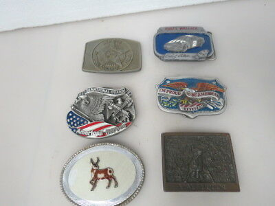 Lot Of 6 Vintage Belt Buckles Police Deer Cars And More A389K