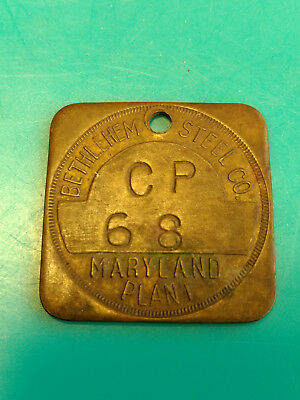 Old Vtg Collectible Bethlehem Steel Co. CP 68 Maryland Plant Chit Tool Token