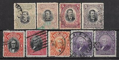 1899-1915 ECUADOR SET OF 9 USED STAMPS (Michel # 116-118,126,191,195,204,209)