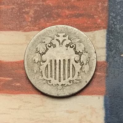 1866 Rays 5C Shield Nickel Vintage US Copper Coin #KR9