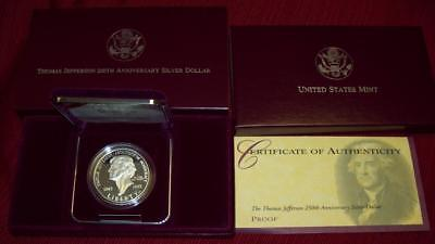 1993 S Proof Thomas Jefferson Commemorative 90% Silver Dollar Coin Box Coa $1