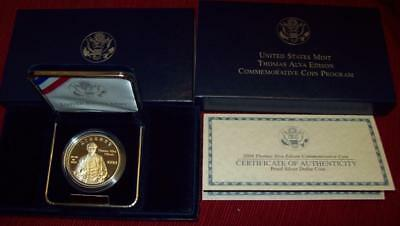 2004 P Proof Dcam  Thomas Edison Silver Dollar  Coin Commemorative Box & Coa  $1