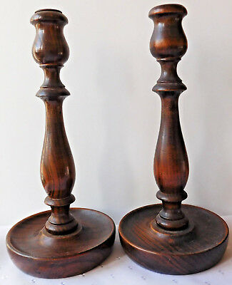 """Pair of antique wooden candlesticks Turned oak vintage candle holders 10"""" tall"""