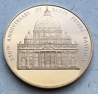 350th Anniversary St. Peter's Basilica Coin Medal Catholic Church Vatican Pope
