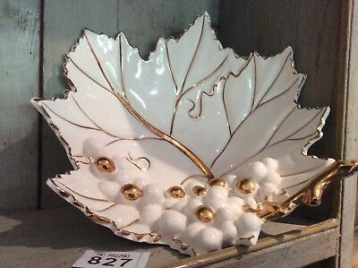 FRUIT DISH - GRAPE VINE LEAF WITH GRAPES - White & Gilding - VGC Made In ITALY