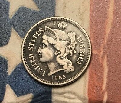 1865 3C Three Cent Nickel Piece Vintage US Copper Coin #KR17 Sharp Appeal