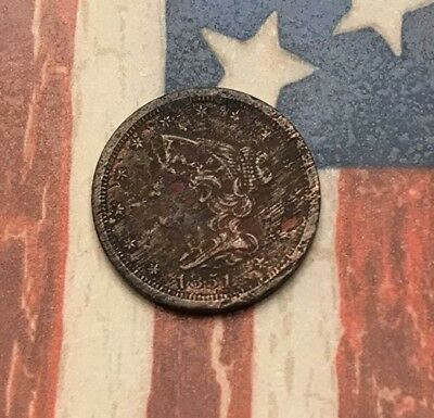 1851 Braided Hair Half Cent Vintage US Copper Coin #KR20 Very Rare Key Date