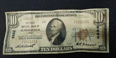 $10 1929 Summerfield Ohio OH National Currency Bank Note Bill Ch.6662 Low Serial
