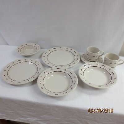 LONGABERGER 8 PC. PLACE SETTING WOVEN TRADITIONS RED POTTERY - made in USA