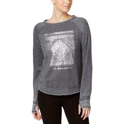Gaiam 5219 Womens Ava Crop Graphic Thumb-hole Sweatshirt BHFO