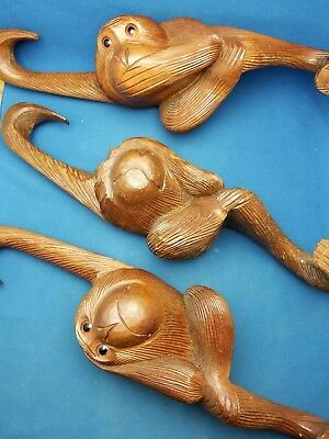 Wood carved of monkeys see no evil, speak no evil, and hear no evil Vintage