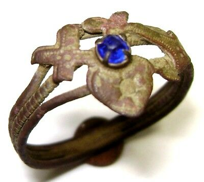"Ancient charming bronze ring with stone ""Faith Hope Love"""