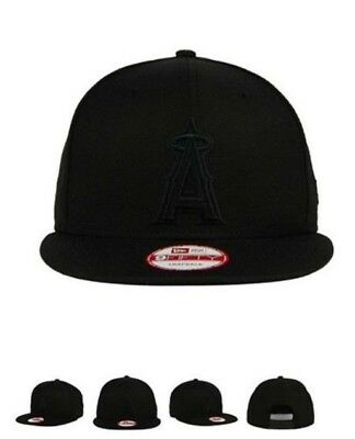 9d19a48d1cd40 Los Angeles Angels New Era 9Fifty Snapback Cap Hat Total All Black A Anaheim  LA