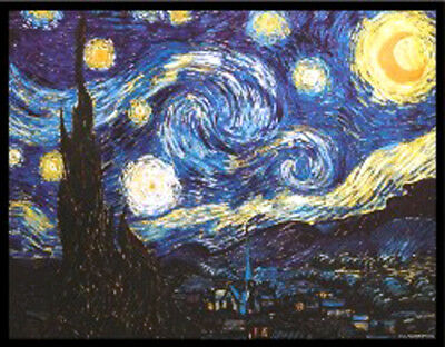 "New Glassmasters Van Gogh ""STARRY NIGHT"" Stained Art Glass Window Panel, New"