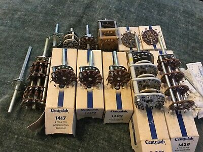 Large Lot of New Rotary Switches and Parts by Central Lab, New Old Stock