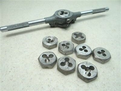 """Lot Of 9 Assorted Hss 1"""" Hex Dies #4-40Nc To 5/16""""-24Nf W/ Wrench Ace Hanson"""