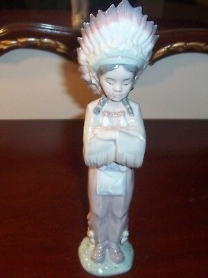 Lladro American Indian Boy # 6192 Excellent Condition