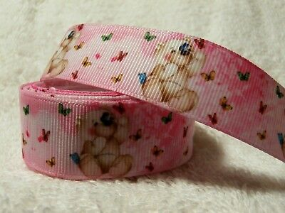 CLEARANCE........SPECIAL.......TEDDY BEAR ON PINK - GROSGRAIN RIBBON 22mm / 7/8""