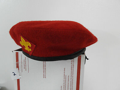 Vintage Boy Scouts Red Wool Beret Hat Old Official BSA Scout Uniform Cap Medium