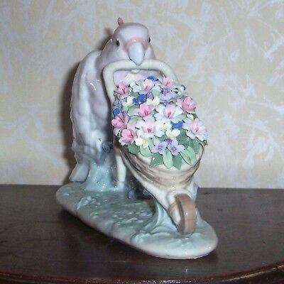 Lladro Figurine #6517 Parrot Pushing Basket Of Flowers