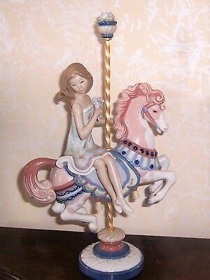 Lladro Girl  on Carousel Horse1985-Retired 1989-Excellent Condition-15 1/2""